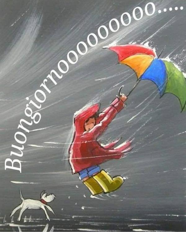 Buongiorno con pioggia e vento