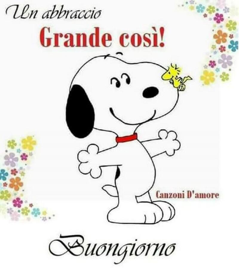 Buongiorno con abbraccio da Snoopy